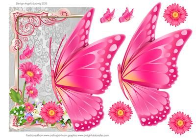 Bright Pink off the edge butterfly on Craftsuprint designed by Angela Ludwig - A pretty hot pink on a silver background makes this card look grand. Suitable for various occaisions. Enjoy:) Angela x - Now available for download!