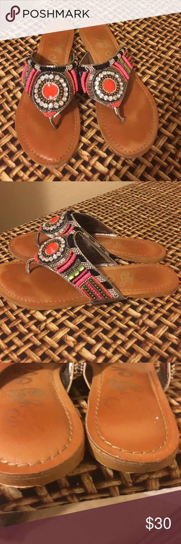 Naughty Monkey Embellished sandals Pretty colorful embellished sandals. Good condition. Not a missing bead. naughty monkey Shoes Sandals