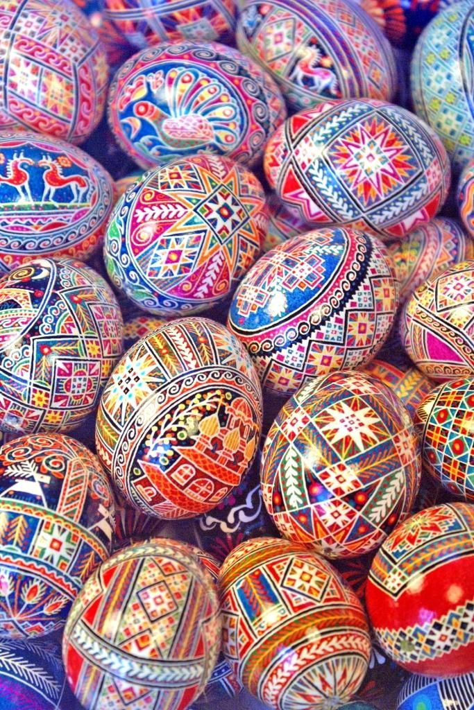 Traditional 'pysanky', or Ukrainian Easter eggs, that I made in the year 2007 (Made and photographed by Dave Melnychuk)