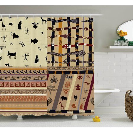 Primitive Decor Shower Curtain, Native Hunting Animals in Wild