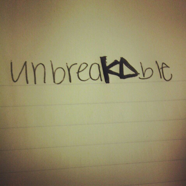 We are Kappa Deltas and we are unbreakable (can be changed to agd)