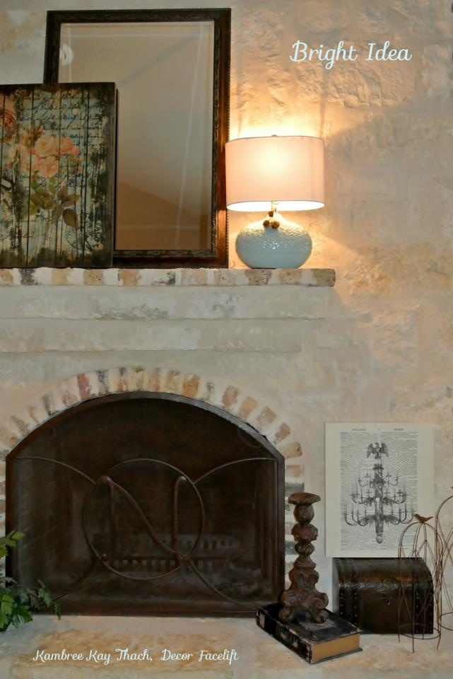 lamp on a fireplace mantel decor interesting idea. Black Bedroom Furniture Sets. Home Design Ideas