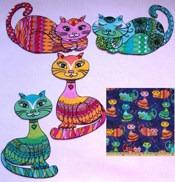 Ref. 047 - Gatitos de colores para aplicación. Miden 8 x 13 cm. Con entretela adhesiva. Cada lote incluye 4 gatitos, 2 en tonos rosas y anaranjados y 2 en tonos azules y verdes, pero los modelos de gatitos varían en cada lote, según disponibilidad de la tela. Tela 100% algodón, importada de EE.UU.