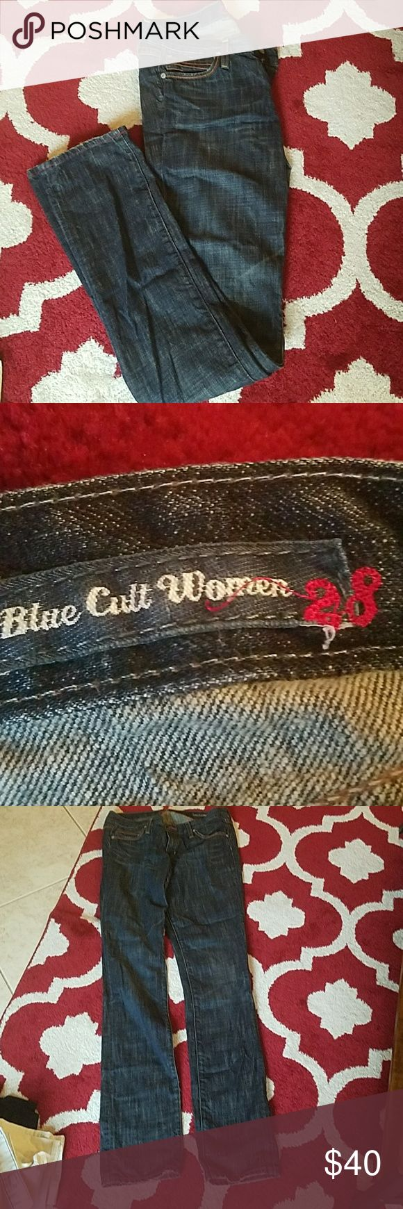 Blue cult denim - size 28 - extra long slouch jean Authentic blue cult denim very long.  35 inch inseam meant for a slouchy high heel look.  Perfect condition. Blue cult denim  Jeans Straight Leg