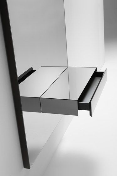 Console with a grey mirror, drawer and LED lights by Kendo Mobiliario