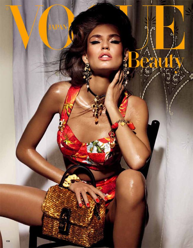 Italian top model Bianca Balti posing for the sublime Vogue Nippon beauty shoot by Giampaolo Sgura clad in Dolce & Gabbana