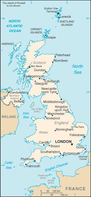 carte géographique Grande Bretagne