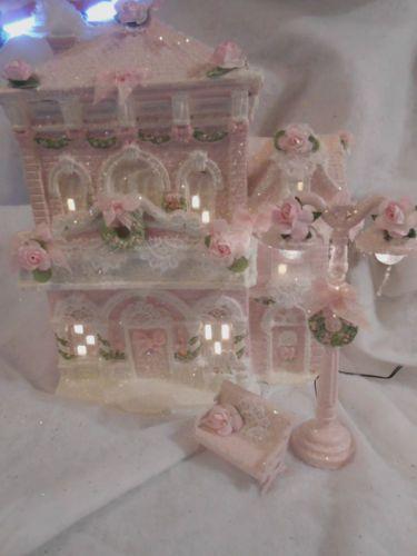 Shabby Pink Victorian Christmas Village House Store Chic Roses Glitter   eBay