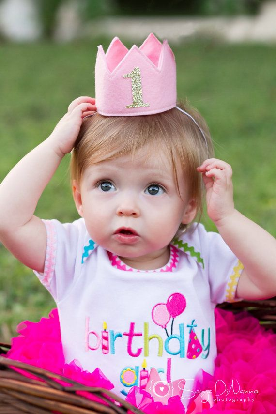 Wool Felt Mini Birthday Crown, Gold Glitter One, Number Age, Princess, Smash Cake Photo Prop, Baby, One Year Old, Pink