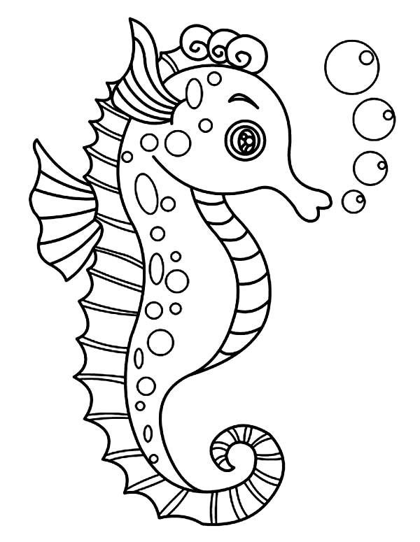 A Lovely Seahorse with Lots of Bubble Coloring Page | Kids Play Color