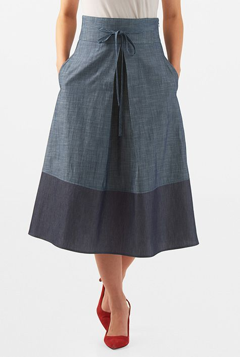 I <3 this Tie front colorblock cotton chambray midi skirt from eShakti