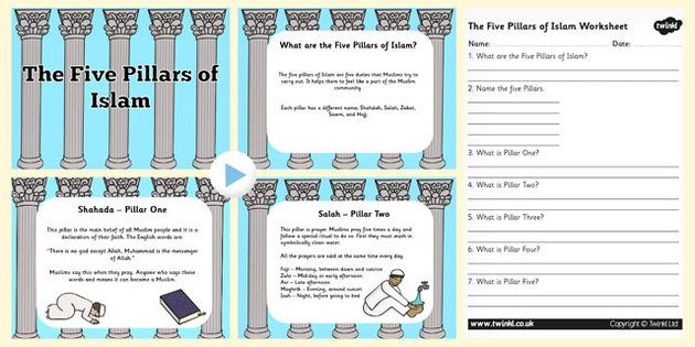 islamic worksheet Simple recording sheet (2 differentiated) to complete with info about 5 pillars of islam.