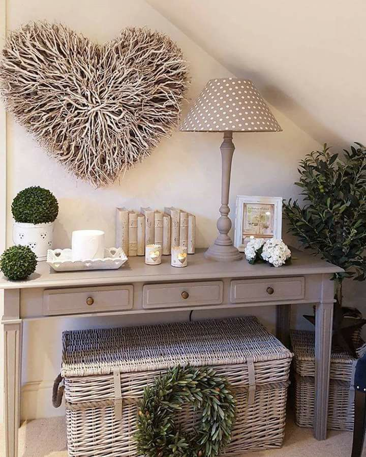 Wicker basket under table - I like this style