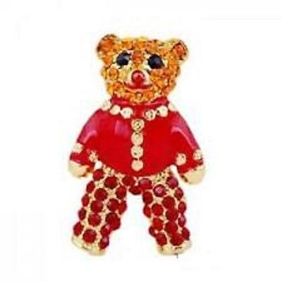 #Vintage diamante #crystal #brooch pin red teddy bear alloy gold jewellery uk ,  View more on the LINK: http://www.zeppy.io/product/gb/2/122162479488/
