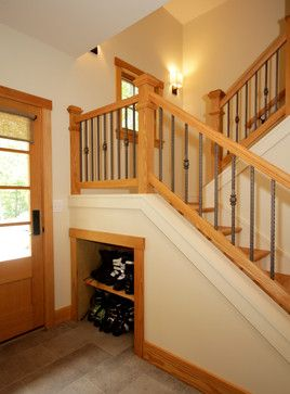 Wintergreen Mountain Getaway - contemporary - hall - richmond - Smith & Robertson, Inc. Ski boot cubby under stairs