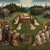 Jan van Eyck Aanbidding van het Lam Gods 1425- 1433 138 x 242 cm Het witte lam is het offerdier bij uitstek. Wit is de kleur van de goede hogere waarheid. In oudheid waren witte dieren voor de hemelse goden, zwarte voor de onderwereld. Tijdens paasfeest offeren joden lammeren. Johannes noemde Jezus het Lam Gods dat zonden van de wereld op zich nam. Op dit schilderij is het lam het offer, de verlossing en de overwinning. Vervolg kijk bij die andere afbeelding