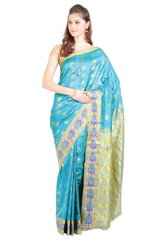 We added a unique blend of traditional Shari's to make you symbolize the perfect depiction of artistry in modern era.  Choose this Kanjivaram Silk designed gorgeously with full body in aqua blue color with handwoven works in light yellow color. Pallu of Shari is also crafted with wide contrast floral zari border.  This product is authenticated by Silk Mark Of India stating that it's 100 percent genuine and authentic.