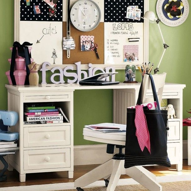 Green and White Girls Bedroom Design for Teens by PB Teen 608x608 Modern Study Furniture Design for Teens by PB Teen