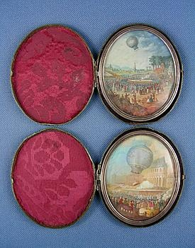 Pair of 18th century oval gouache miniatures illustrating early hot air balloon experim...: