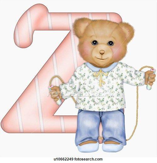The capital letter Z with teddy bear