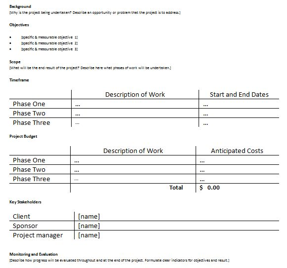 Project Proposal Plan Template For Project Managers