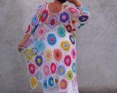 taille plus Robe Coloré Crochet Haute-Basse : Robe par keltys