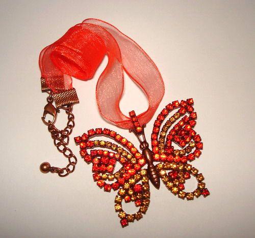 Czech Rhinestone Butterfly | Strass Schmetterling | Collier Anhänger | 1A Qualität von Jablonex *sc091 - JAUL.biz Perlen und Glas