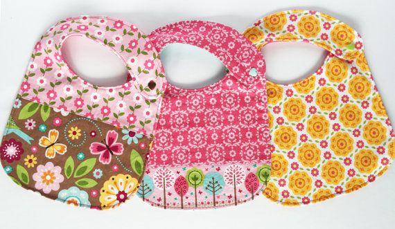 Baby Bib Set, Set of 3; Summer Song Brown Designer Cotton / Flannel, 3 Ply, Baby Gift, Baby Shower Gift