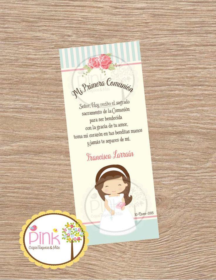 First Communion Favor Cards/ Bookmark / Baptism Girl / Recuerdo de Primera Comunion Niña by PinkCajasyTarjetas on Etsy