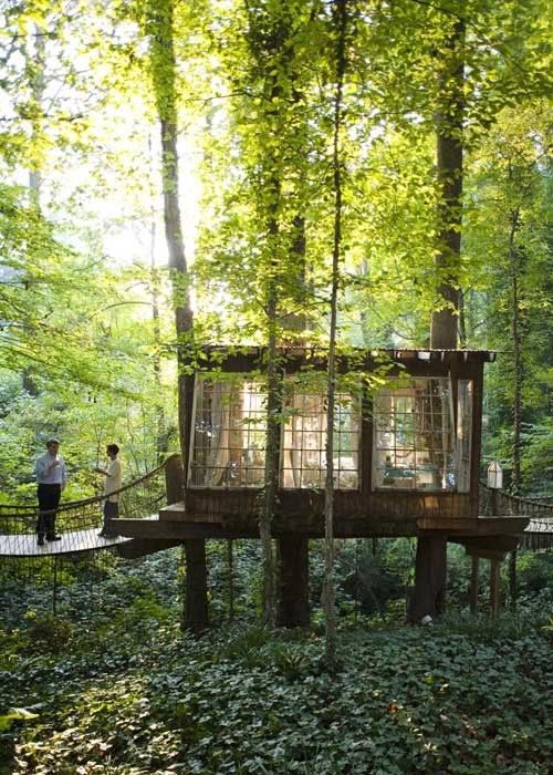 glass cabin in the woods....what a fun place for a peaceful reading spot by the pond or in the woods.