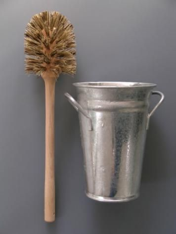 Toilet Brush and Holder Wooden brush and galvanised bucket  Overall height 40cm from #Labour_and_Wait ... when purchased through link supports #Remodelista