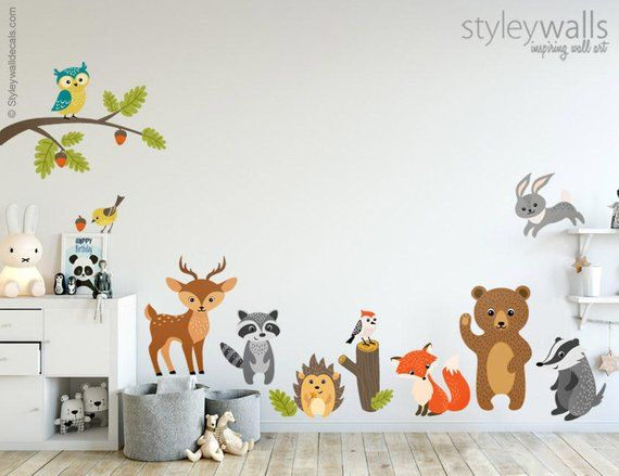 Woodland Animals Wall Decal Forest Animals Wall Decal Sticker