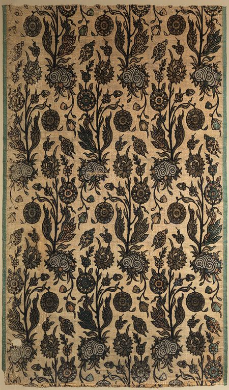 Velvet panel with flowering plants, first half of 17th century; Safavid  Iran  Silk, cotton, flat metal thread; cut and voided velvet, brocaded