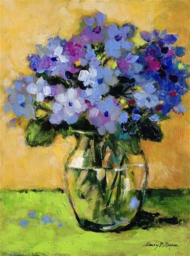 "Daily Paintworks - ""Hydrangeas With Green"" - Original Fine Art for Sale - © Nancy F. Morgan"