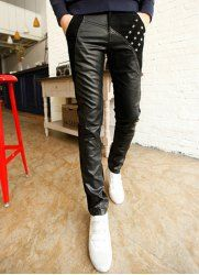 Fashion Narrow Feet Stud Design Color Block Fabric Splicing Slimming PU Leather Pants For Men