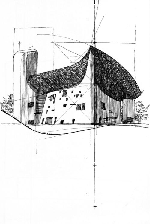 Ryan Patterson    Corbu: Ronchamp (Le Corbusier - France), Pen and ink on paper, 2007  One of my favorite buildings