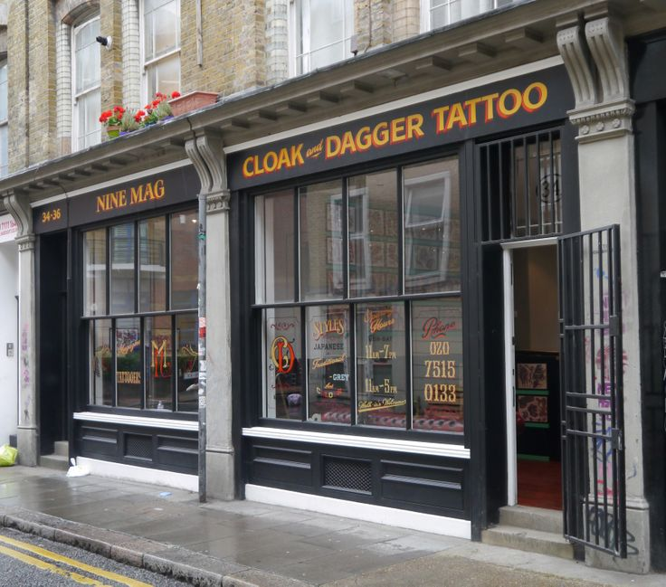 Cloak and dagger tattoo parlour shop front on 34 cheshire for Tattoo shops in london