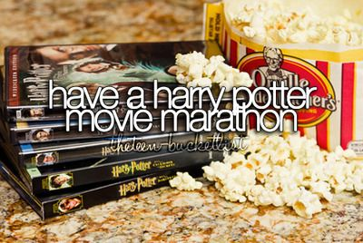 Complete the entire 21 hour movie marathon. Would be awesome with my best friends, in TENT FORTS!
