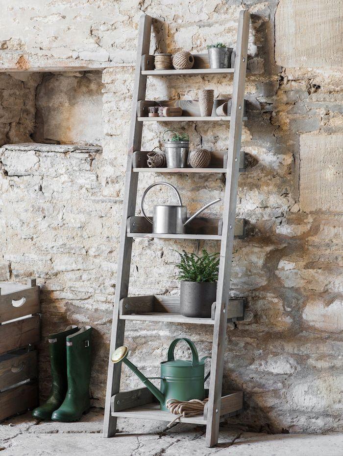 Indoor Outdoor Shelving Ladder Storage Pots Ideas Tips Gardening Ladder Shelf Crate Bookshelf Garden Shelves