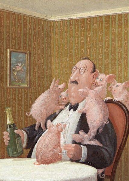 Neujahrsempfang: Illustration by Gerhard Glück (11,5 x 17 cm Klappkarte mit Umschlag, €2.20) #illustration #Gerhard_Glueck #New_Year #swine
