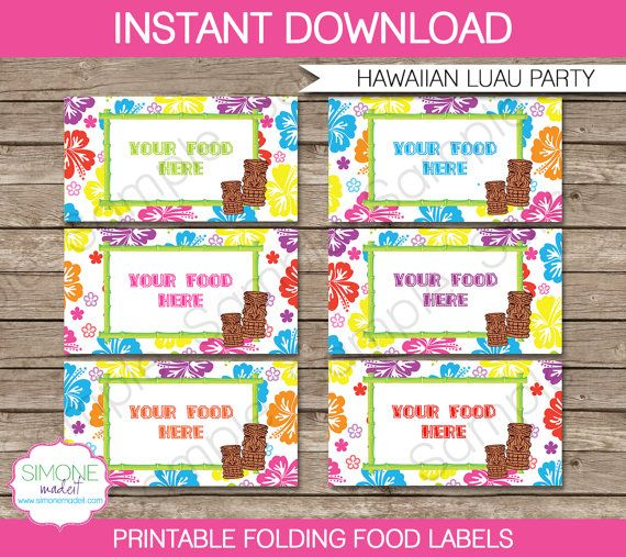 Luau Party Food Label or Food Buffet Tag