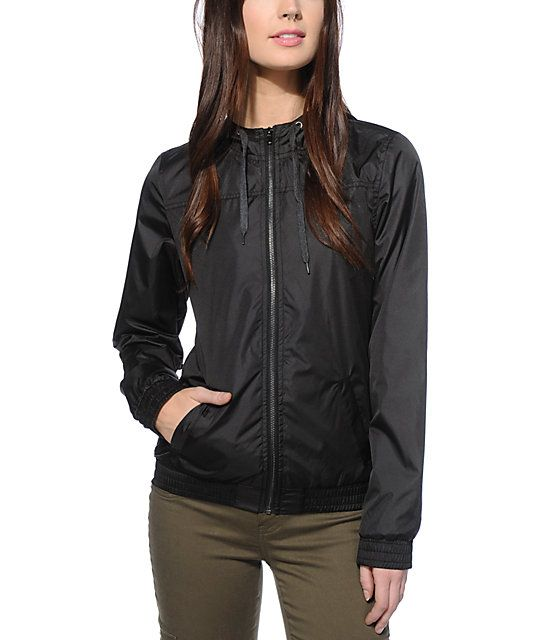 This solid black windbreaker is made with a soft fleece liner to insulate heat and lightweight poly shell that repels moisture and wind so your style needs are covered rain or shine.
