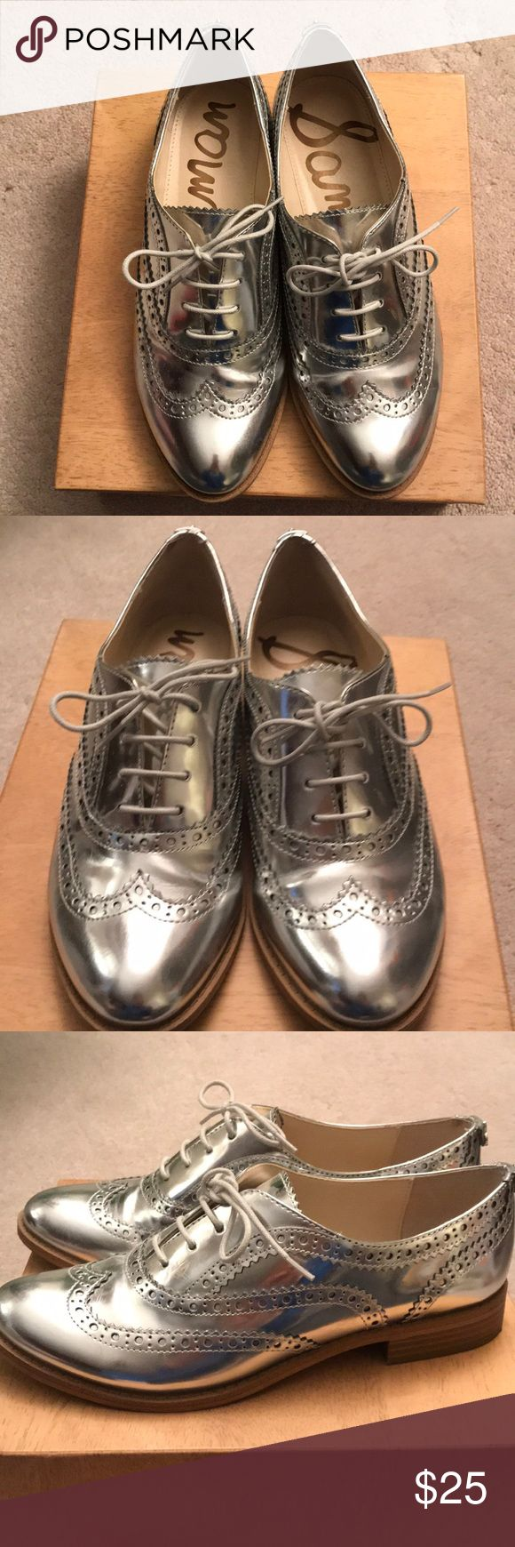 Sam Edelman Silver Mettalic Oxford Loafers Sam Edelman Silver Metallic Oxford Loafers. Gently worn a few times. Has tiny scuffs but can be cleaned with shoe cleaner. Heel height approx 1 inch.  Comes from pet and smoke free home. Thanks for looking! Sam Edelman Shoes Flats & Loafers #loafersoxford