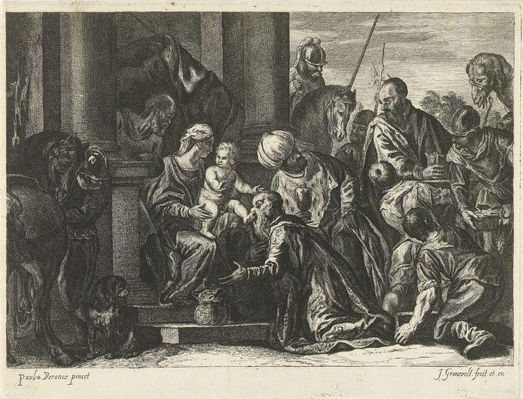 Johannes Gronsveld | Aanbidding door de koningen, Johannes Gronsveld, 1679 - 1728 | Maria zittend tussen klassieke zuilen, met het naakte Christuskind op schoot, een toekijkende man achter hen. Rechts de koningen met hun geschenken, een van hen kust de voet van Christus. Links op de voorgrond een soldaat met een paard op de rug gezien en een hond. Rechts een kameel en een ezel.