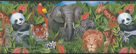 Bordura JUNGLE din Colectia YORK KIDS IV. Wallpaper. Tapet animale.