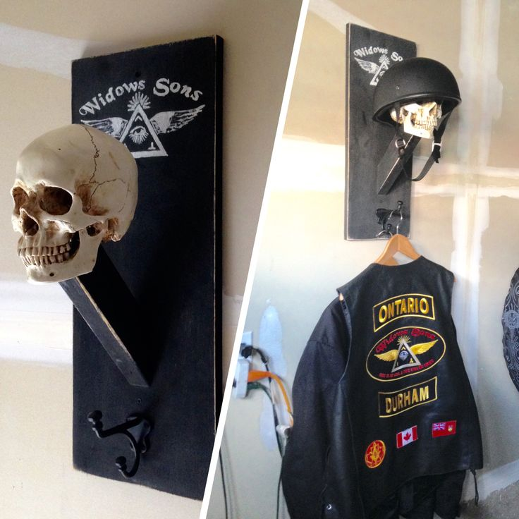 I made this , so happy how it turned out #motorcycle helmet rack