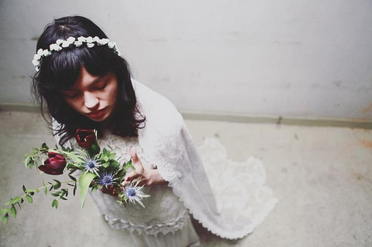 Ceres Veil - bohemian flowercrown cathedral lenght lace wedding veil