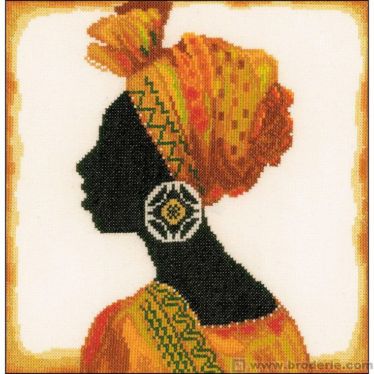 0 point de croix femme africaine - cross stitch african woman 31x29 étamine 10.5 fils bis