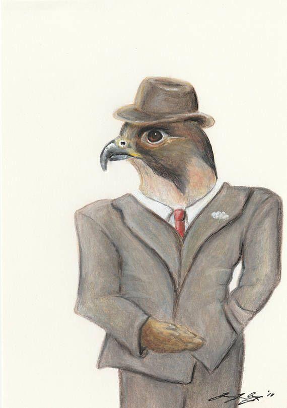Bird Boss  Print  animal print / funny art / cartoon art /