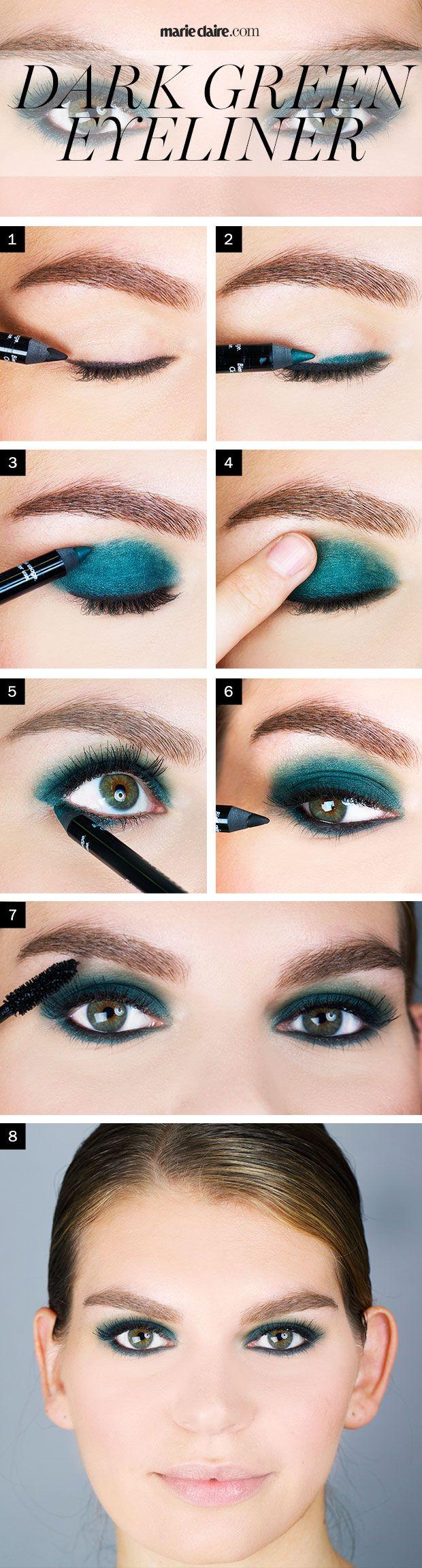 Technique simple de maquillage au doigt pour les yeux, couleur bleu,